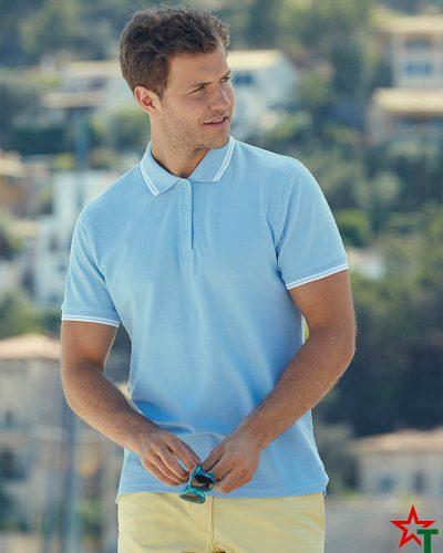 Двуцветна тениска с якичка