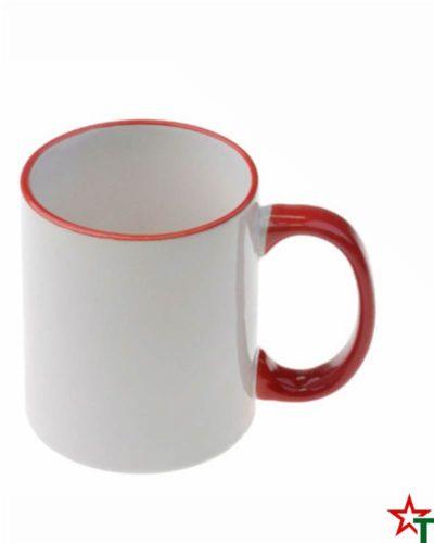 Чаши с цветен кант и дръжка