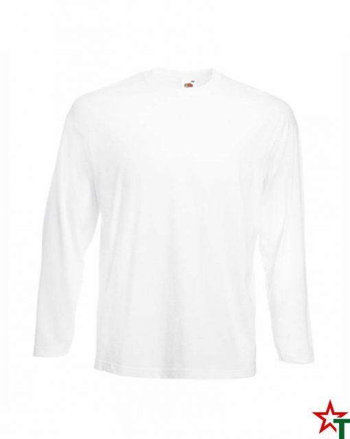 Бяла Мъжка тениска с дълъг ръкав