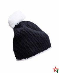 Navy-White Зимна шапка Pompon