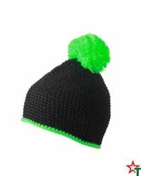 Black-Lime Зимна шапка Pompon