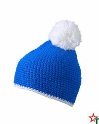 Royal Blue-White Зимна шапка Pompon
