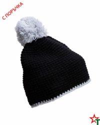 Black-Grey Зимна шапка Pompon