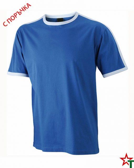 Royal Blue-White Мъжка тениска Double Flag