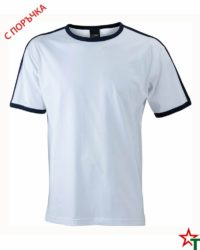 White-Deep Navy Мъжка тениска Double Flag