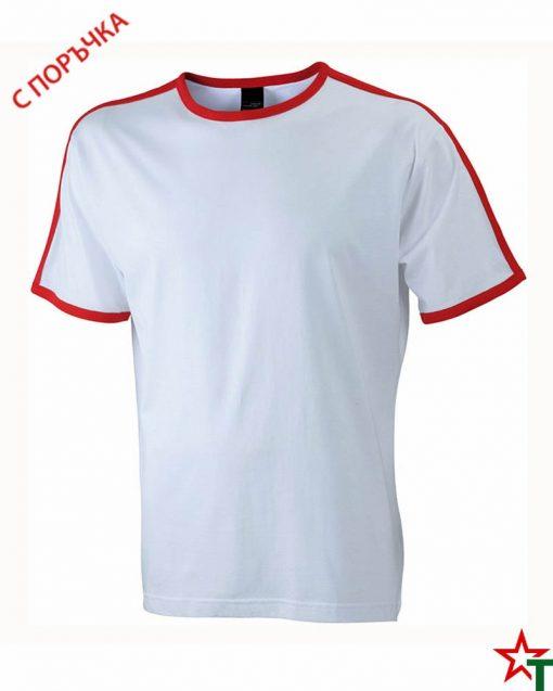White-Red Мъжка тениска Double Flag