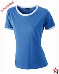 Royal Blue-White Дамска тениска Double Flag