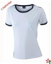 White-Deep Navy Дамска тениска Double Flag