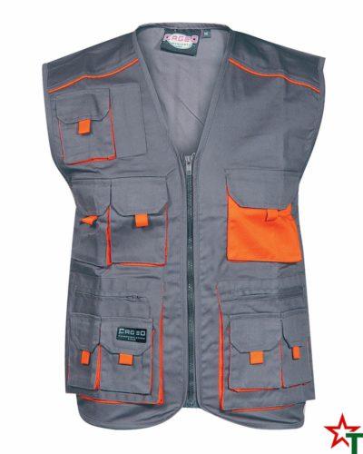 Gray - Orange Работен елек Vest Pockets