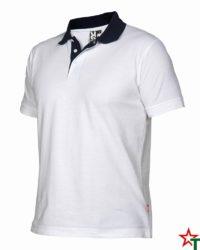 White - Deep Navy Мъжка риза с къс ръкав Borneos