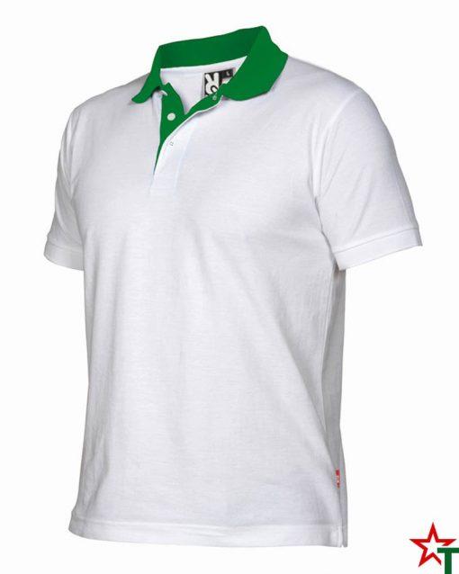 White - Kelly Green Мъжка риза с къс ръкав Borneos