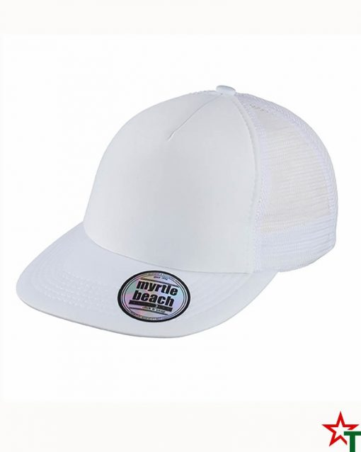 White Пет панелма шапка Flat Peak Cap