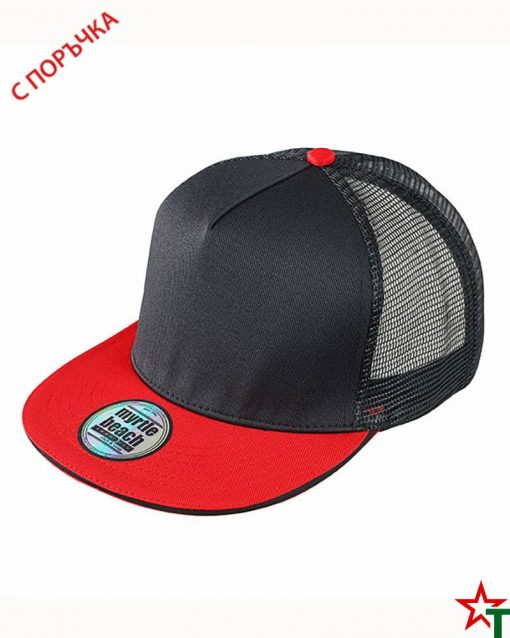 Black - Red Пет панелна шапка Pro Cap Mesh