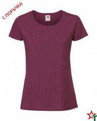1303 Burgundy Дамска тениска Ringspun Pre T Lady-Fit