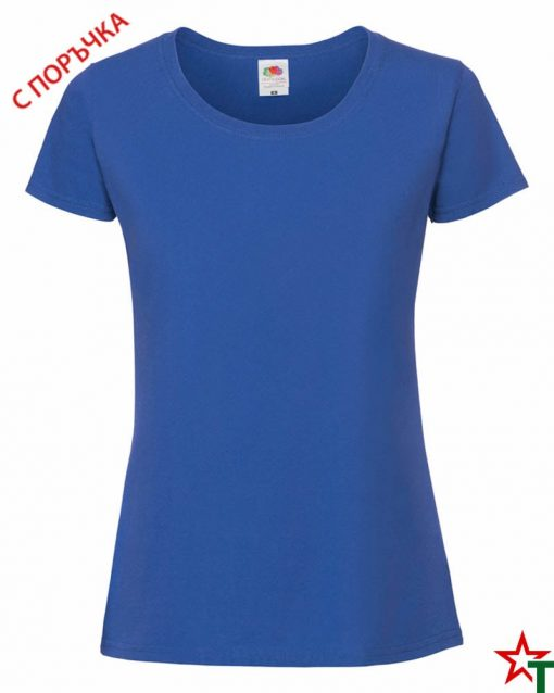 Royal Blue Дамска тениска Ringspun Pre T Lady-Fit