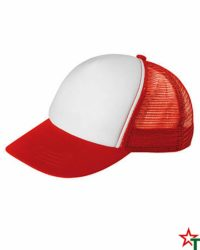 BG1189 White - Red Пет панелна шапка Kanas