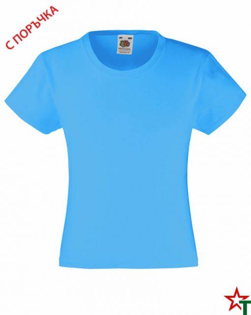 BG493 Azure Blue Детска тениска Valueweight Girl